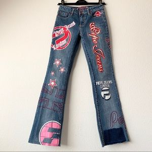 Magnificent vintage Pepe London embroidered jeans